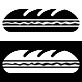 Simple, flat, long sub sandwich silhouette illustration. Black and white versions
