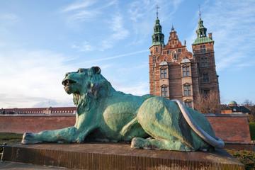 Bronze Lion statue near Rosenborg Castle