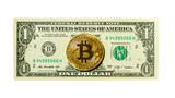 Bitcoin coin and one dollar banknote isolated on white background. Cryptocurrency concept