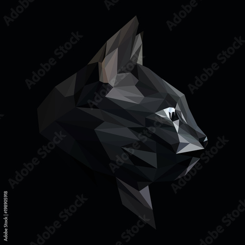 Cat low poly design. Triangle vector illustration. © shekularaz