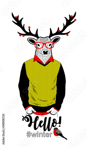 Plexiglas Hipster Hert Colorful illustration of deer in retro clothes and berries on his horns.
