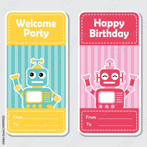 Vector cartoon illustration with cute blue and red robots on striped background suitable for birthday label design, banner set and invitation card - 198911120