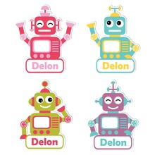 Cartoon Illustration  Colorful Robot Toys Suitable For Kid Name Tag Set Design Label Name And Printable Sticker Set Sticker