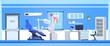 Dental Office Interior Empty Dentist Hospital Or Clinic Room Flat Vector Illustration