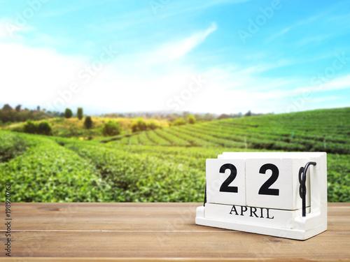 Foto Murales wood block calendar on brown wooden table