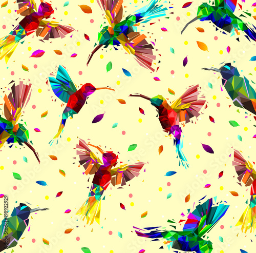 Pattern of low poly colorful hummingbird with falling leaves back ground,animal geometric,Abstract vector.