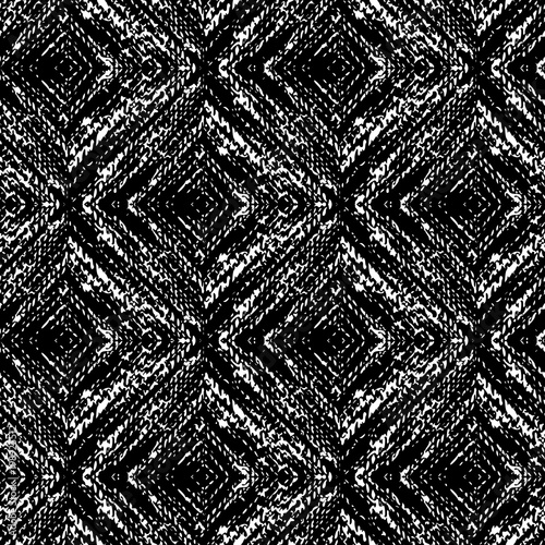 Black and White Seamless Ethnic Boho Pattern. Ikat. Background for Surface Design - 198925512