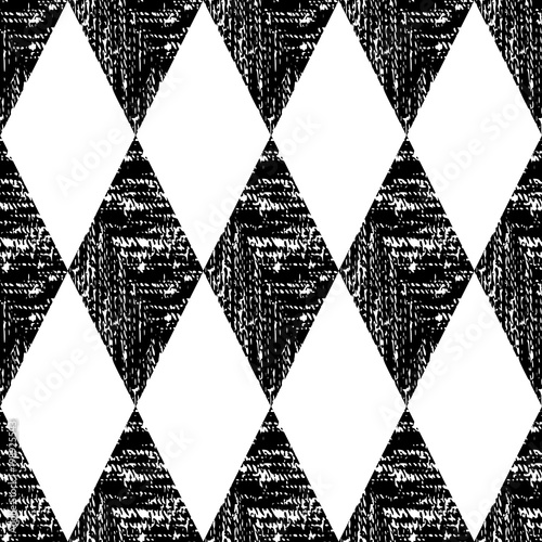 Black and White Seamless Ethnic Pattern. Tribal - 198925543