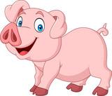 Cartoon happy pig cartoon isolated on white background