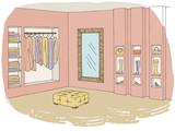 Shop store interior graphic color sketch illustration vector - 198926730