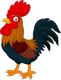Cartoon rooster isolated on white background