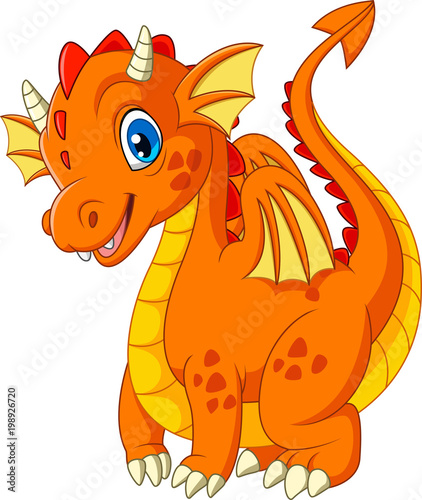 Cartoon little dragon isolated on white background - 198926720