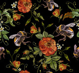 Embroidery wild roses flowers and bumblebees. Classic style embroidery, beautiful dogrose pattern vector. Vintage buds of wild roses on black background. Fashionable template tapestry flowers - 198929149