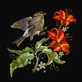 Embroidery vintage flowers lily and birds. Classical embroidery lilies, template fashionable clothes, t-shirt design, print vector - 198929369