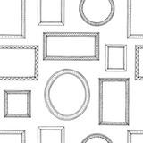 Picture frame graphic black white seamless pattern sketch background illustration vector - 198929714