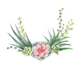 Watercolor vector wreath of cacti and succulent plants isolated on white background. - 198931989