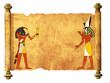 Old parchment with Egyptian gods images Toth and Horus - 198935381
