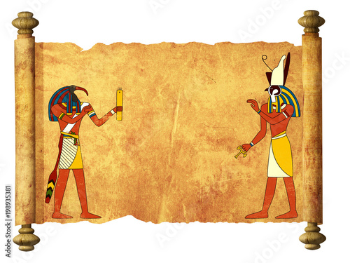 Foto Murales Old parchment with Egyptian gods images Toth and Horus