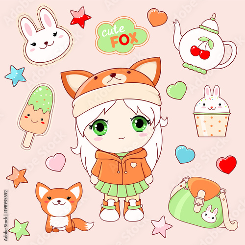 Set of cute stickers in kawaii style - 198935592