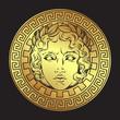 Greek and roman god Apollo. Hand drawn antique style logo or print design art vector illustration.