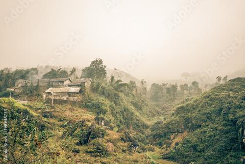 Fotobehang Khaki a village of farmers in the jungle of vietnam
