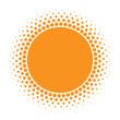 Sun icon. Halftone orange circle with gradient  texture circles logo design element. Vector illustration - 198937948