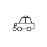 Taxi cab outline icon. linear style sign for mobile concept and web design. Transportation simple line vector icon. Symbol, logo illustration. Pixel perfect vector graphics - 198939111