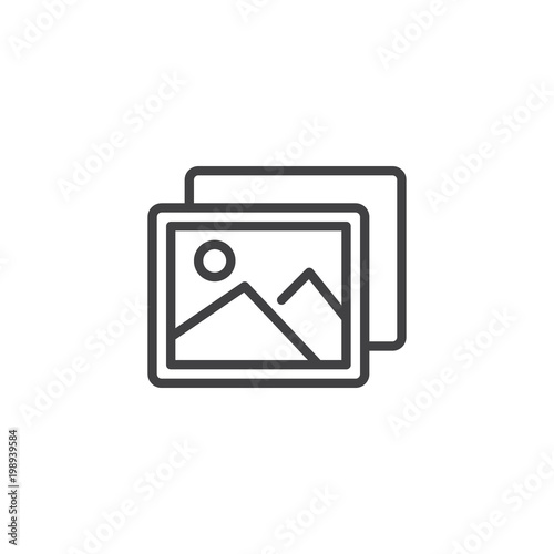 Foto op Canvas Wit Photo outline icon. linear style sign for mobile concept and web design. Nature picture simple line vector icon. Symbol, logo illustration. Pixel perfect vector graphics