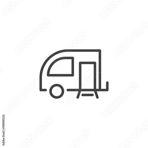 Travel Trailer outline icon. linear style sign for mobile concept and web design. Caravan simple line vector icon. Symbol, logo illustration. Pixel perfect vector graphics