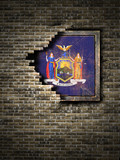 Old New York flag in brick wall