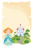 Colorful background with a picture of a parchment scroll, fairytale castle and a pretty Princess. Vector illustration.