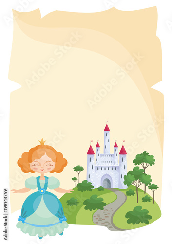 Colorful background with a picture of a parchment scroll, fairytale castle and a pretty Princess. Vector illustration. - 198943759