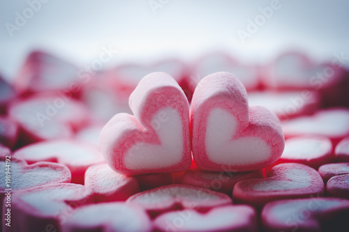 couple of marshmallow in hearth shape love concept.