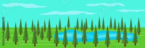 Fotobehang Groene koraal Green Fir Tree Forest with a Lake among the Trees