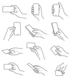 Hand gestures with card and phone vector set - 198950125