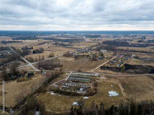 Foto op Plexiglas Parijs drone image. aerial view of rural area with houses and road network. populated area Dubulti near Jekabpils, Latvia