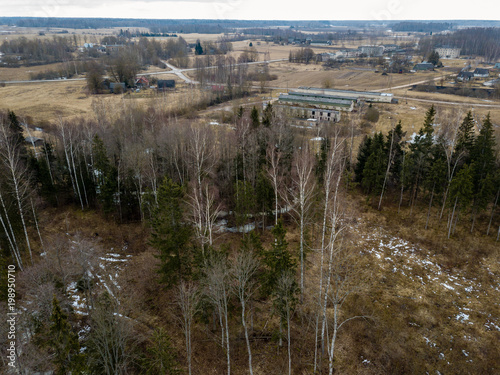 Foto op Aluminium Chocoladebruin drone image. aerial view of rural area with fields and forests