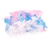 Watercolor illustration of sky with cloud. Artistic natural painting abstract background. - 198951585