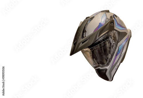 Foto op Canvas Scooter Motorcycle helmet hat isolated on white background cliping part