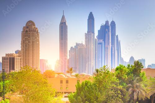 Fotobehang Dubai Colorful Dubai cityscape