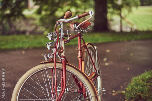 Foto op Plexiglas Fiets Image of a red vintage bicycle in a city park.