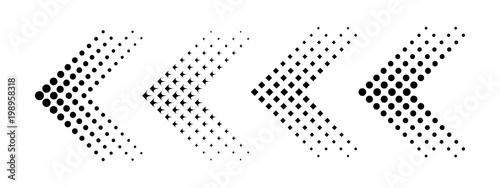 Zestaw strzałki z efekt półtonu. Ilustracji wektorowych