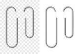 Set of silver metallic realistic paper clip - 198960559