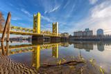 Historic Tower bridge leading towards the state capitol in Sacramento, California.