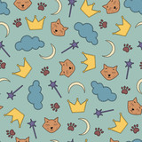 night theme seamless background with cats and crowns