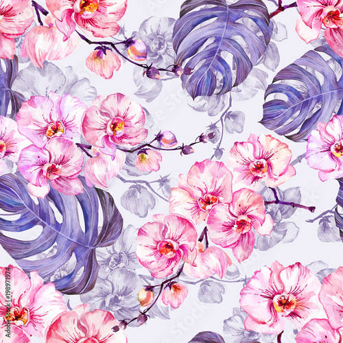Seamleass pattern made of pink orchid flowers with contours and large puple monstera leaves on light lilac background. Watercolor painting. Hand drawn. © katiko2016