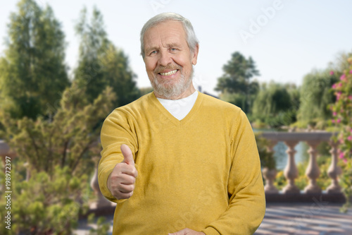 Portrait of old man with like gesture outdoor. Senior with thumb up in the sunny park.