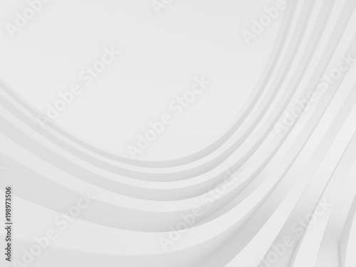 Foto op Plexiglas Abstract wave Abstract of white curved architectural pattern background,Concept of future modern facade design on architecture,3d rendering