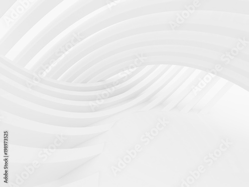 Staande foto Abstract wave Abstract of white curved architectural pattern background,Concept of future modern facade design on architecture,3d rendering