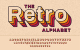 Retro Font 90's, 80's. With VHS effect, Vector abc alphabet - 198974310